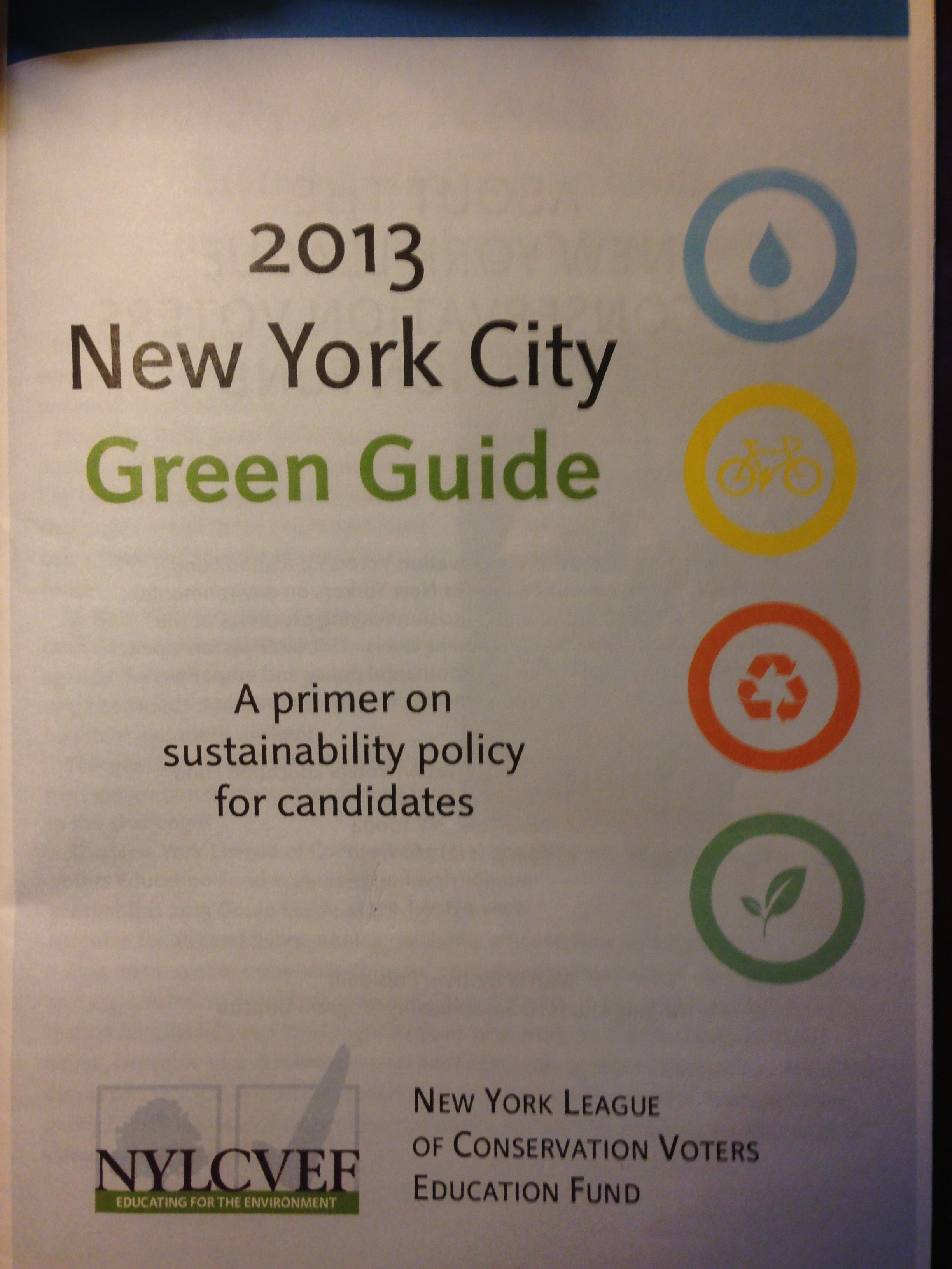 Zoe Health a Resource Expert in the 2013 New York City Green Guide for Political Candidates- NYLCVEF