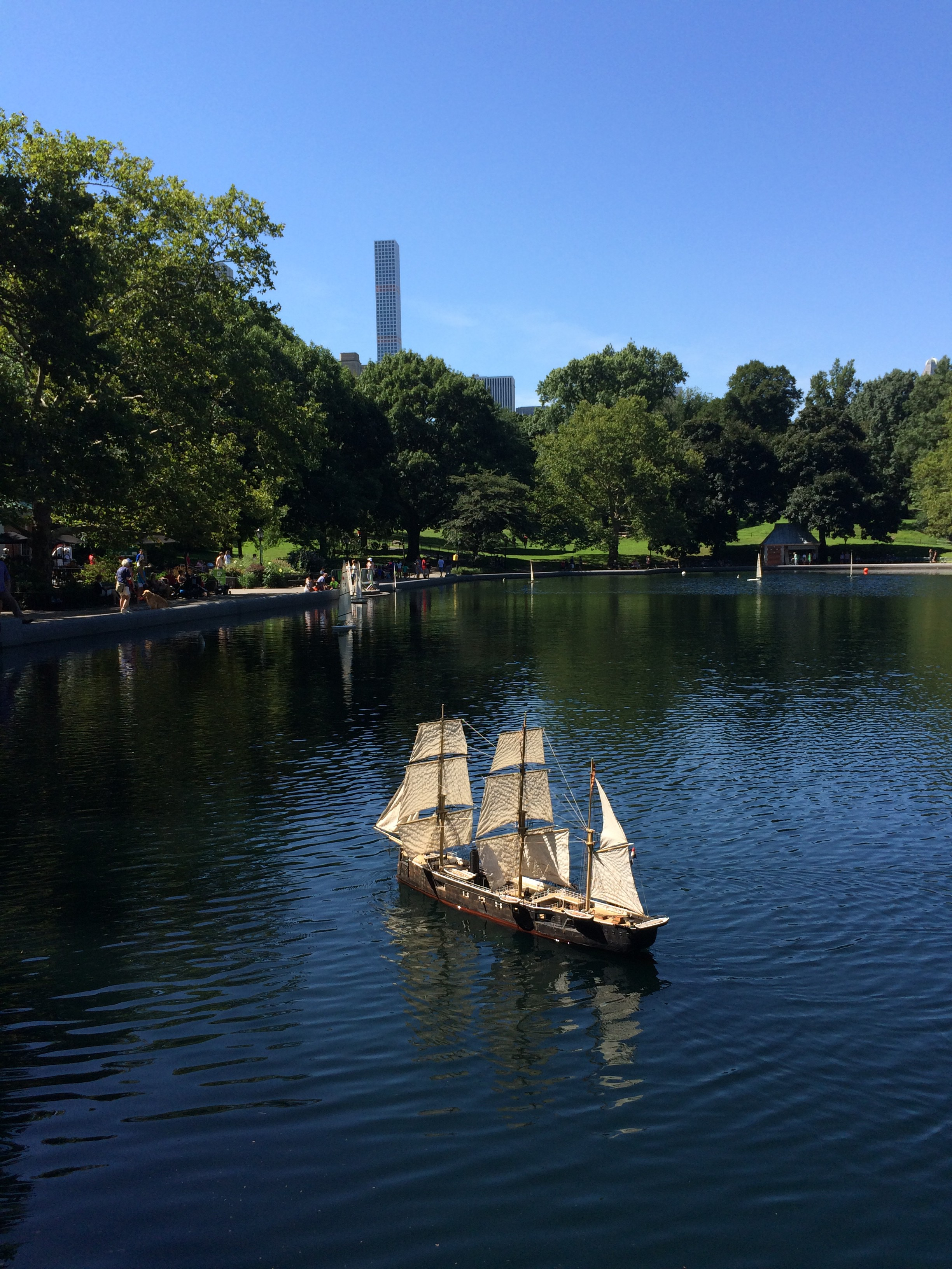 photo taken of model ship in Central Park Conservatory Water